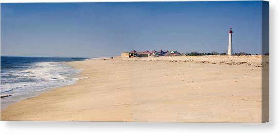 Cape May Beach Panorama New Jersey Canvas Print by George Oze