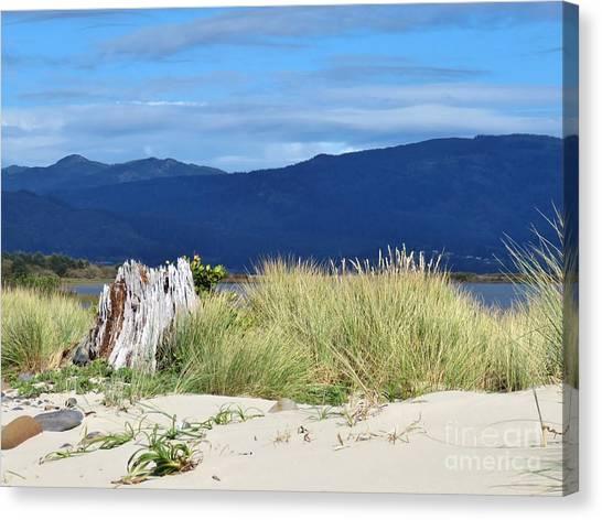 Sand Grass Mountains Sky Canvas Print