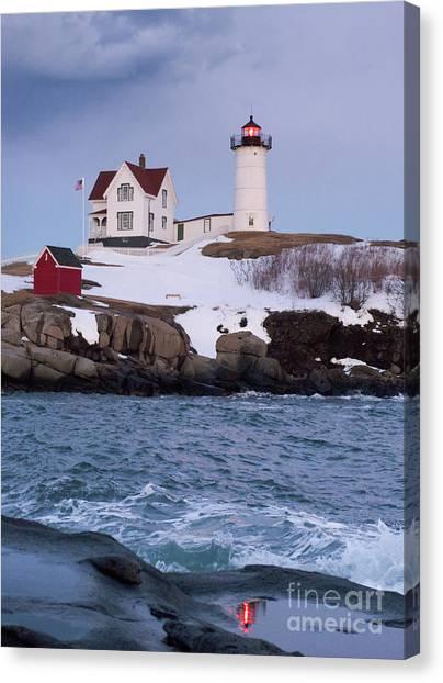 Cape Neddick Light At Dusk, York, Maine 21073 Canvas Print