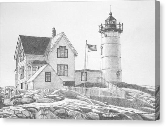Canvas Print featuring the drawing Cape Neddick Light House Drawing by Dominic White