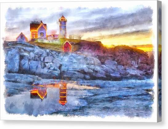 Cape Neddick Light Watercolor Canvas Print