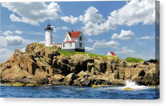 Canvas Print featuring the painting Cape Neddick Lighthouse by Christopher Arndt