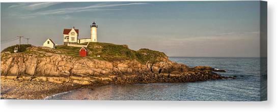Cape Neddick Lighthouse Island In Evening Light - Panorama Canvas Print