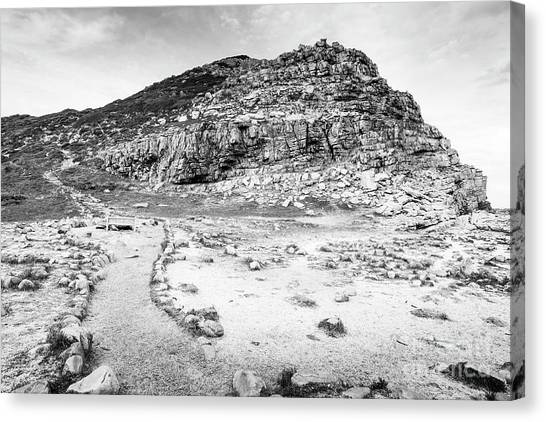 Canvas Print featuring the photograph Cape Of Good Hope Landscape Black And White by Tim Hester