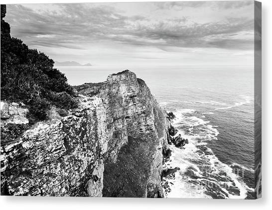 Canvas Print featuring the photograph Cape Of Good Hope South Africa Black And White by Tim Hester