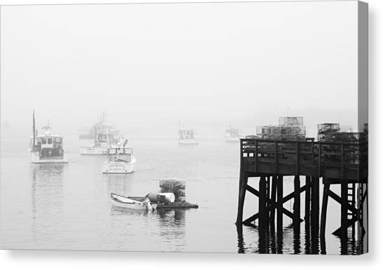 Cape Porpoise Lobster Boats In Fog Canvas Print
