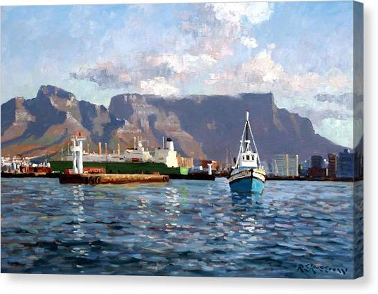 Table Mountain Canvas Print - Cape Town Harbor Entrance by Roelof Rossouw