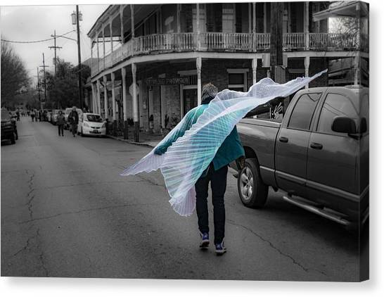 Caped Street Dancer On Frenchmen Street Canvas Print