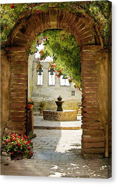 Mission Canvas Print - Capistrano Gate by Sharon Foster
