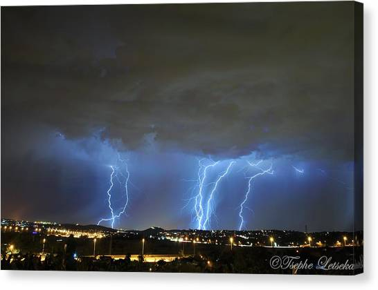 South African Canvas Print - Capital City Lightning by Tsephe Letseka