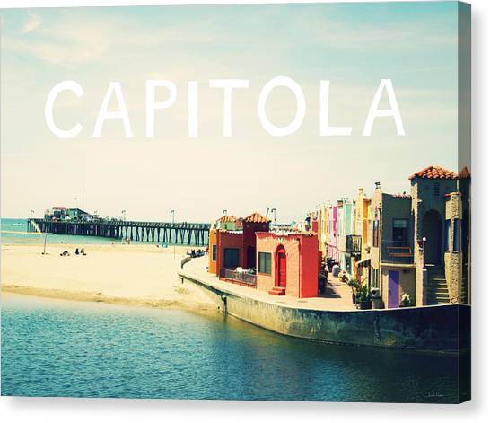 Postcards Canvas Print - Capitola by Linda Woods