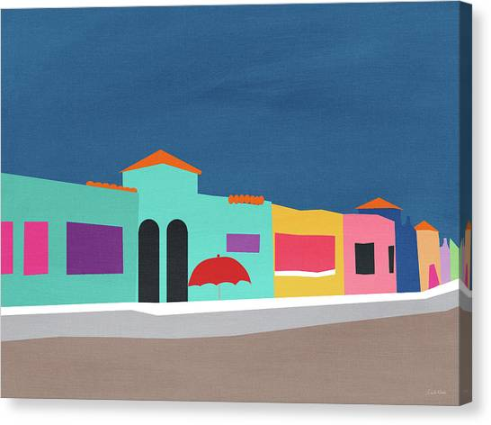 Beach House Decor Canvas Print - Capitola Venetian- Art By Linda Woods by Linda Woods
