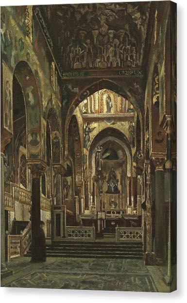 Byzantine Icon Canvas Print - Cappella Palatina, Palermo  by Frederic Leighton