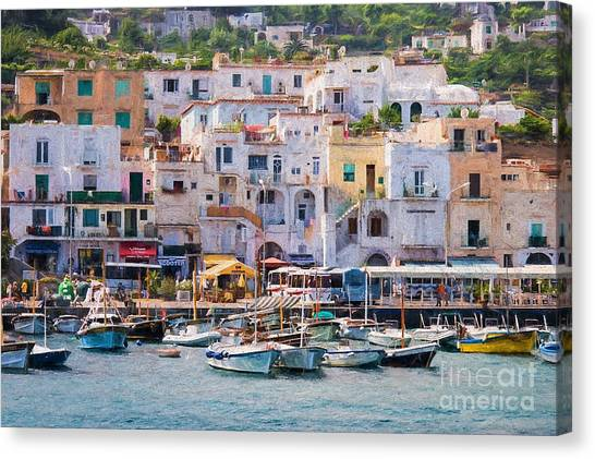 Capri Boat Harbor Canvas Print