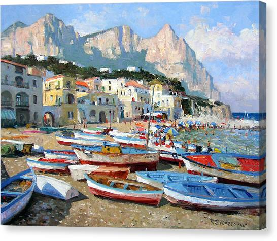 Fishing Boats Canvas Print - Capri Sunshine by Roelof Rossouw