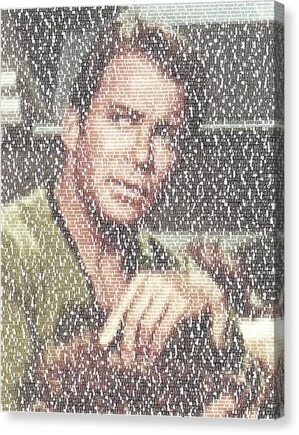 James T. Kirk Canvas Print - Capt. Kirk Tribble Script Mosaic by Paul Van Scott