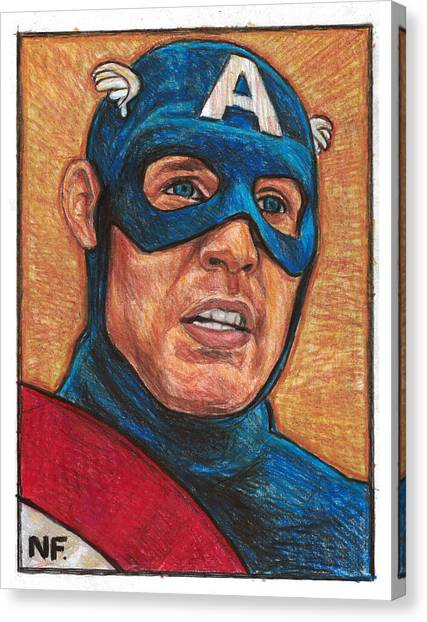 Prisma Colored Pencil Canvas Print - Captain America As Portrayed By Actor Chris Evans by Neil Feigeles