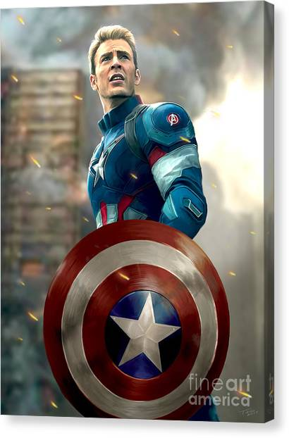 Avengers Canvas Print - Captain America - No Helmet by Paul Tagliamonte