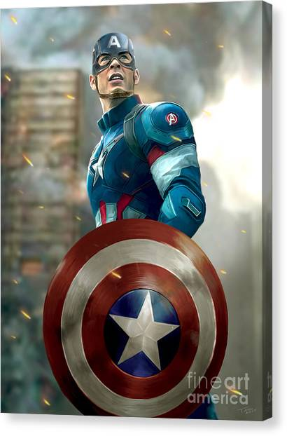 Avengers Canvas Print - Captain America With Helmet by Paul Tagliamonte
