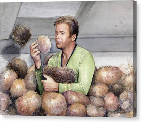 Star Trek Canvas Print - Captain Kirk And Tribbles by Olga Shvartsur