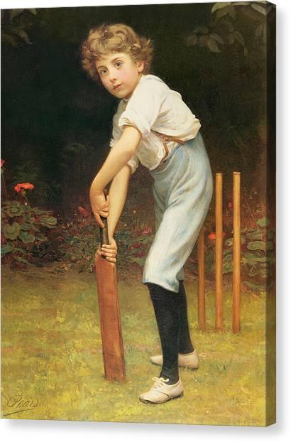 Cricket Canvas Print - Captain Of The Eleven by Philip Hermogenes Calderon