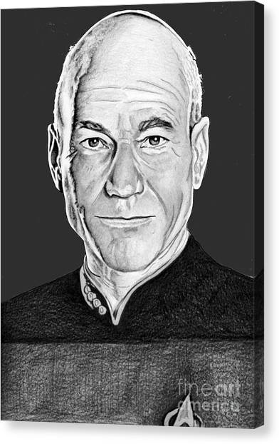 Starship Enterprise Canvas Print - Captain Picard by Bill Richards