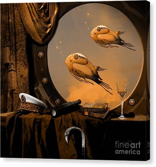 Canvas Print featuring the digital art Captan Nemo's Room by Alexa Szlavics