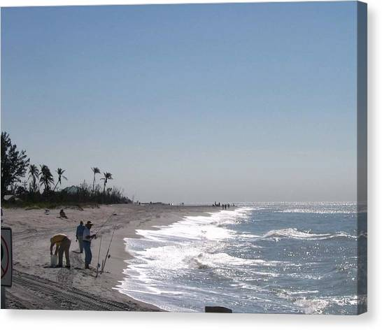 Captiva Surf Fishing Canvas Print by Jack G  Brauer