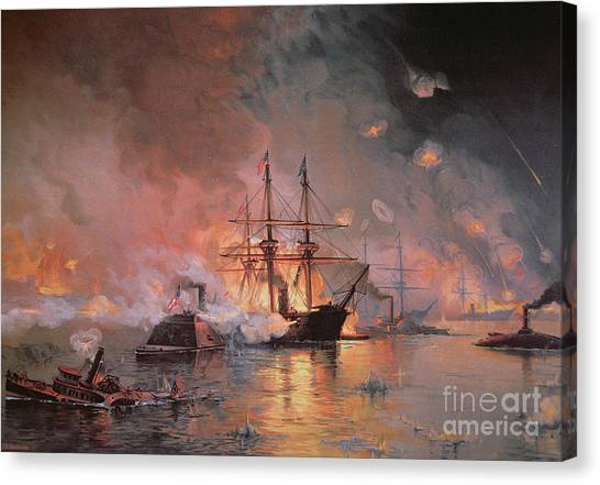 Submarine Canvas Print - Capture Of New Orleans By Union Flag Officer David G Farragut by Julian Oliver Davidson