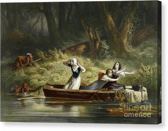 Daniel Canvas Print - Capture Of The Daughters Of Daniel Boone And Richard Callaway By The Indians by Karl Bodmer