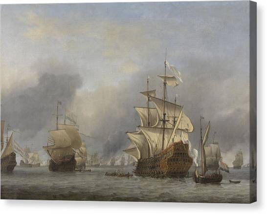 Royal Marines Canvas Print - Capture Of The Royal Prince by Willem Van De Velde The Younger