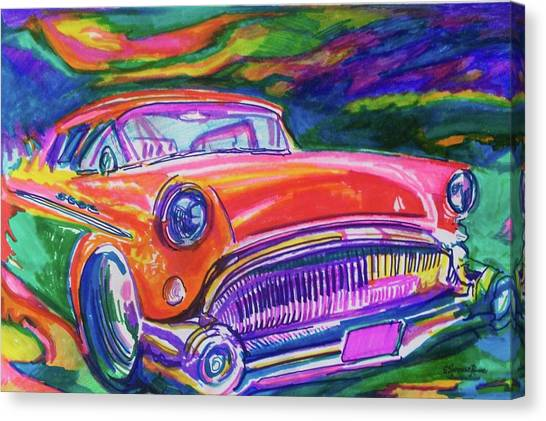 Car Hod Canvas Print - Car And Colorful by Evelyn Sprouse Rowe