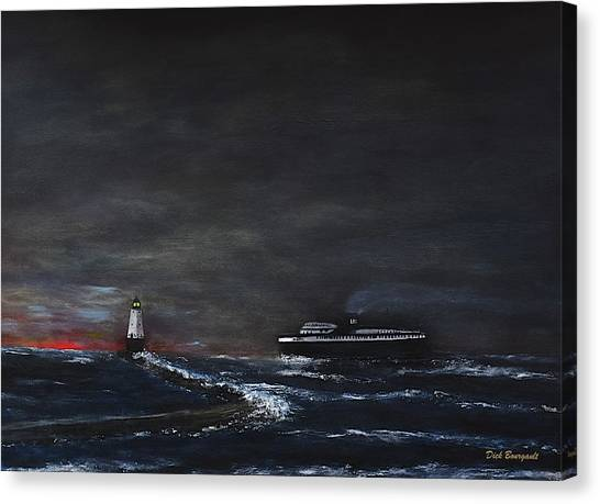 Car Ferry Badger November Crossing Canvas Print