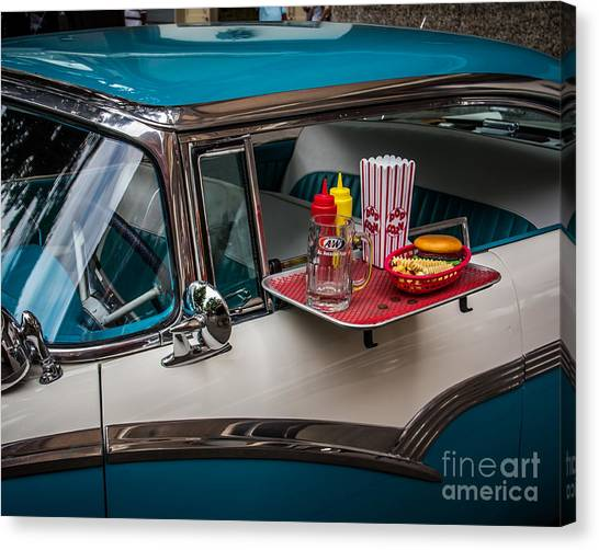 Diners Canvas Print - Car Hop by Perry Webster