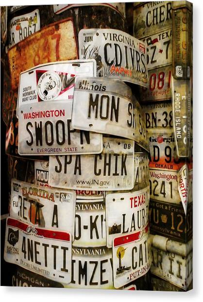 Car Tags Canvas Print by JAMART Photography