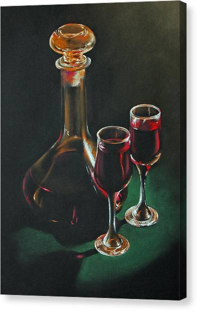 Carafe And Glasses Canvas Print by Alan Stevens