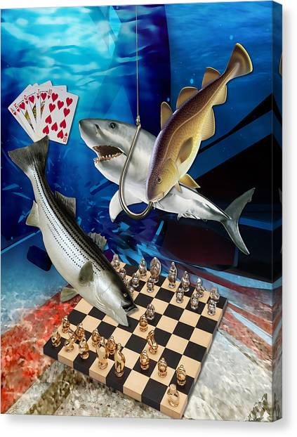 Sharks Canvas Print - Card Shark And One On The Hook by Marvin Blaine