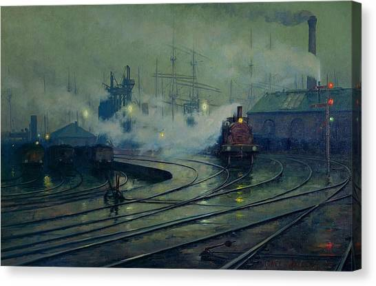 Train Canvas Print - Cardiff Docks by Lionel Walden