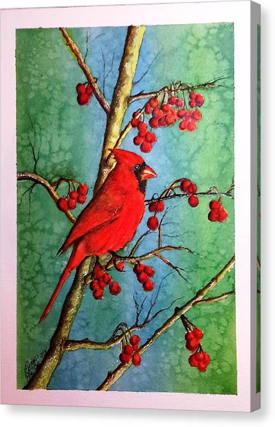 Cardinal And Berries Canvas Print