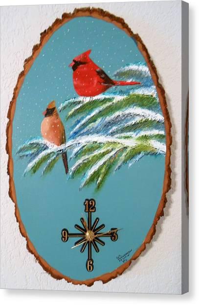 Cardinal Clock Canvas Print