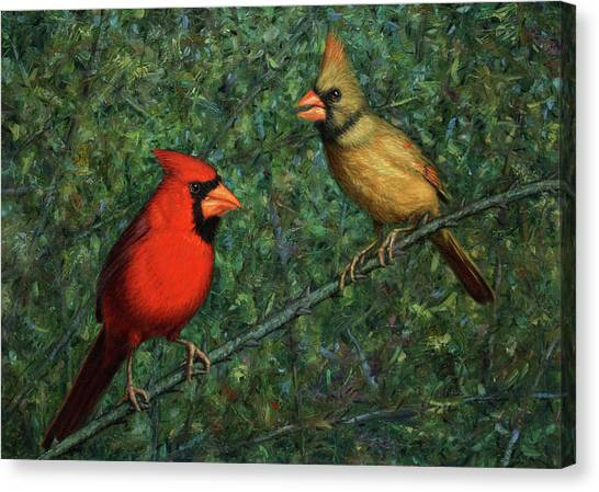 Cardinal Canvas Print - Cardinal Couple by James W Johnson