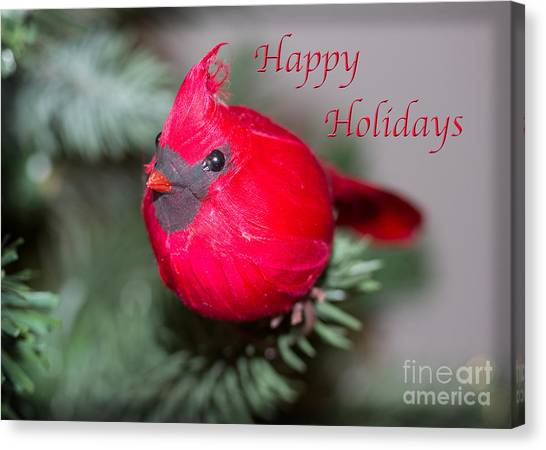 Cardinal Happy Holidays Canvas Print