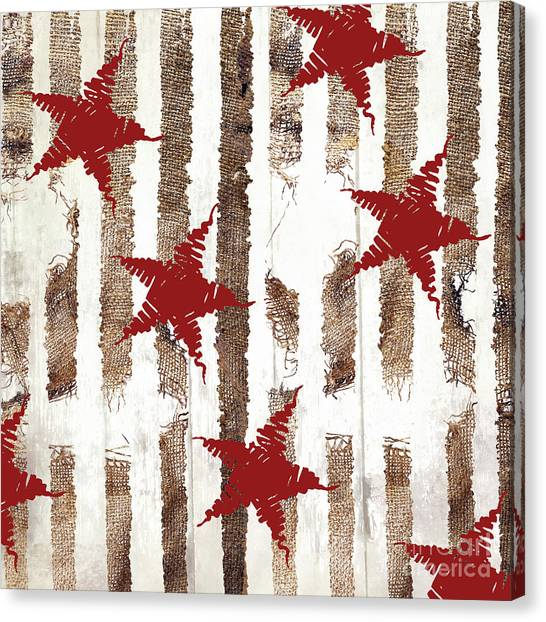 Amaryllis Canvas Print - Cardinal Holiday Burlap Star Pattern by Mindy Sommers