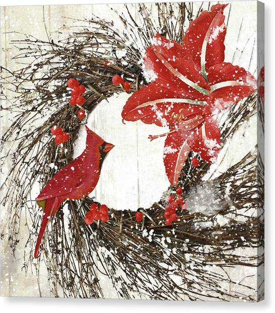 Amaryllis Canvas Print - Cardinal Holiday I by Mindy Sommers