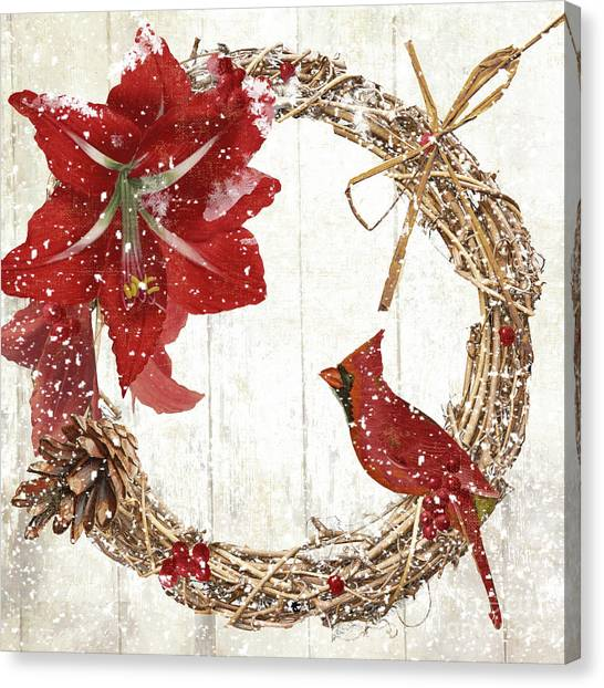Amaryllis Canvas Print - Cardinal Holiday II by Mindy Sommers