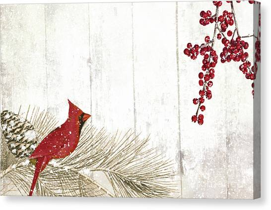 Amaryllis Canvas Print - Cardinal Holiday IIi by Mindy Sommers