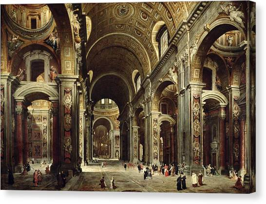 Vault Canvas Print - Cardinal Melchior De Polignac Visiting St Peters In Rome by Giovanni Paolo Pannini or Panini