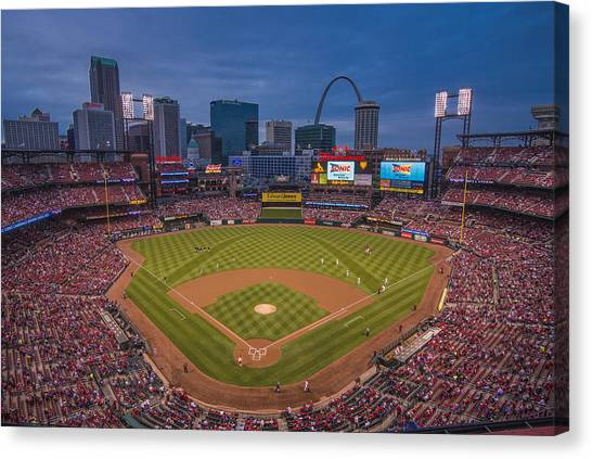 Cardinal Nation Busch Stadium St. Louis Cardinals Twilight 2015 Canvas Print