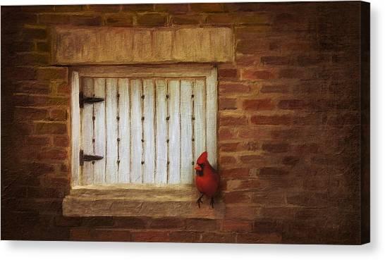 Linda King Canvas Print - Cardinal On Brick Wall Window 5655 by Linda King