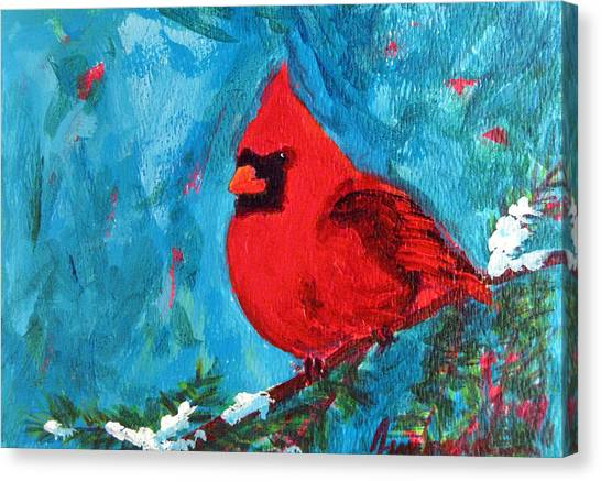 Cardinal Red Bird Watercolor Modern Art Canvas Print